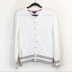 Tommy Hilfiger Button Cardigan Large Striped White